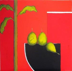 V - Jacqueline Vassail - La Tenture Rouge - Acrylique - 80x80 Site